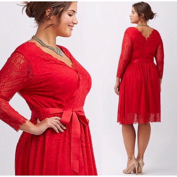 49% off Lane Bryant Dresses Red Lace Plus Size Bow Cocktail Dress ...